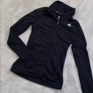 Adidas black zip up athletic jacket